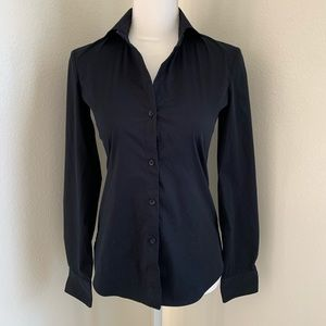 Theory Woman's Fitted Black Button Shirt